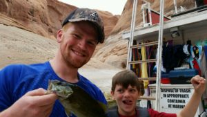 Fishing at Lake Powell with kids